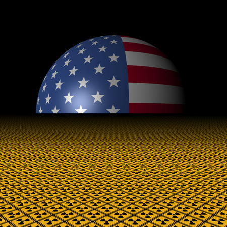 radioactive warning symbol: USA flag sphere and radioactive warning signs illustration