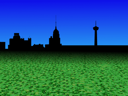 San Antonio skyline with abstract dollar currency foreground illustration Stock Photo