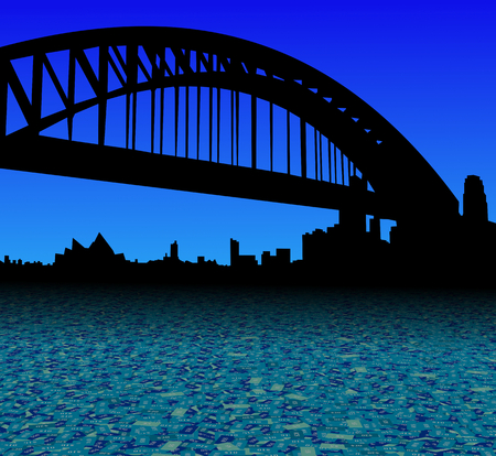 sydney skyline: Sydney skyline with abstract dollar currency foreground illustration Stock Photo