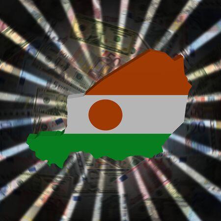 Niger map flag on currency burst illustration Stock Photo