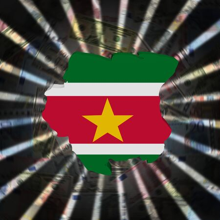 Suriname map flag on currency burst illustration Stock Photo