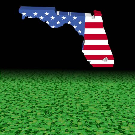 Florida map flag with abstract dollar foreground illustration