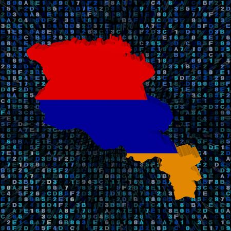 Armenia map flag on hex code illustration Stock Photo