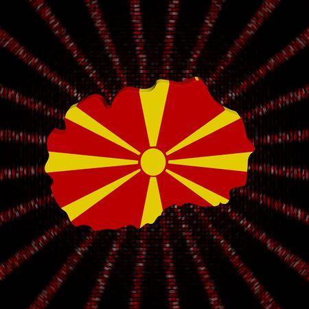 Macedonië kaartvlag op rode hexuitdraai code burst-illustratie Stockfoto