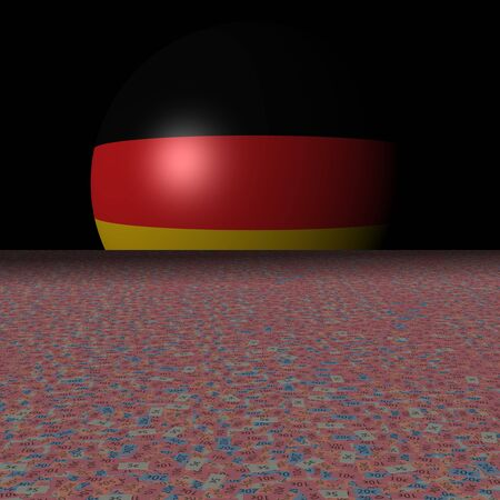 Germany flag sphere and abstract euros illustration