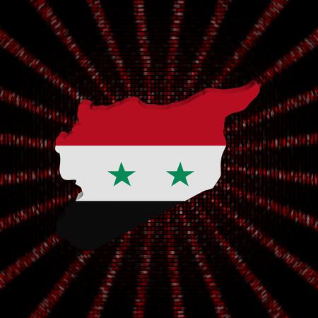 Syria map flag on red hex code burst illustration Stock Photo