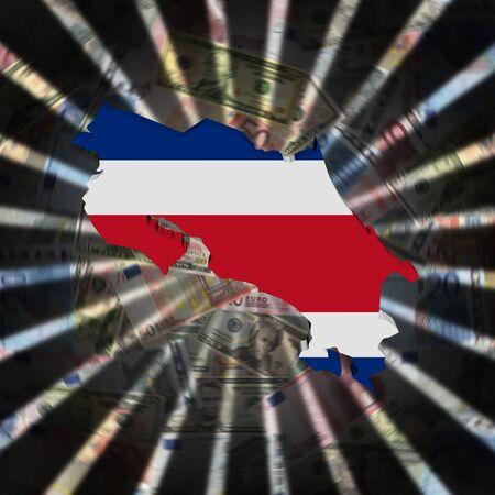 Costa Rica map flag on currency burst illustration 版權商用圖片