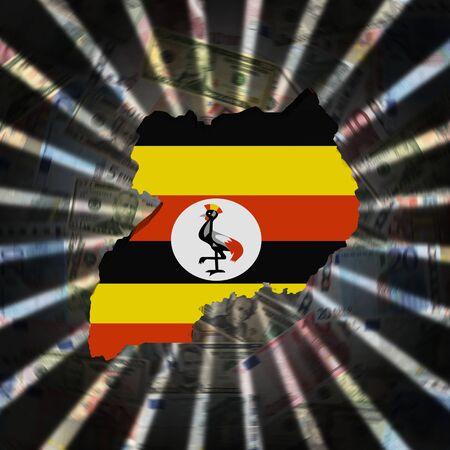 Oeganda kaart vlag op valuta burst illustratie Stockfoto