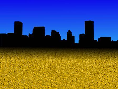 Baltimore skyline with golden dollar coins foreground illustration