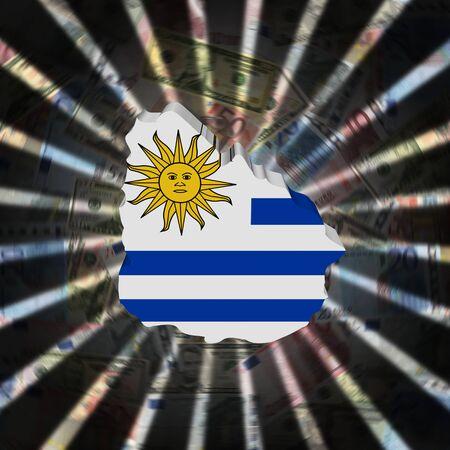 Uruguay map flag on currency burst illustration