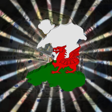 cash: Wales map flag on currency burst illustration Stock Photo
