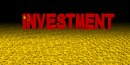 Investment text with Chinese flag on coins illustration