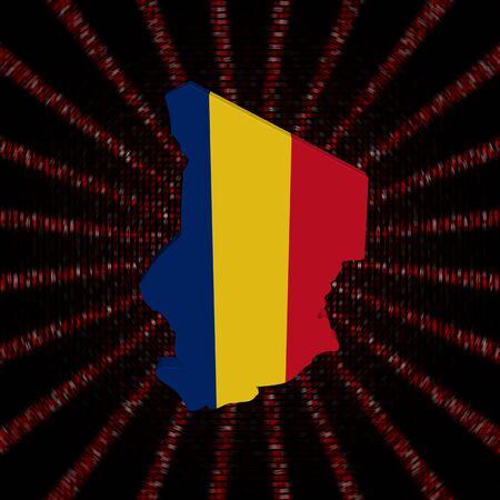 Chad map flag on red hex code burst illustration Фото со стока