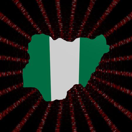 Nigeria map flag on red hex code burst illustration