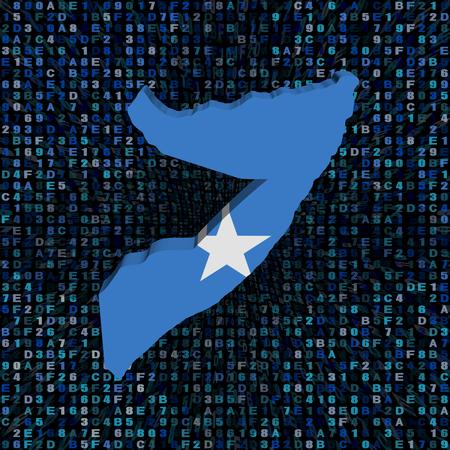 Somalië kaart vlag op hexadecodes illustratie