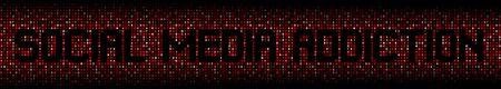 Social Media Addiction text on hex code illustration