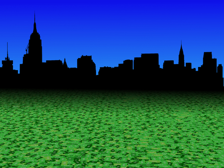 Midtown Manhattan skyline with abstract dollar currency foreground illustration