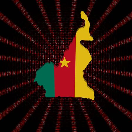 Cameroon map flag on red hex code burst illustration