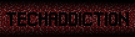 Techaddiction text on hex code illustration Stock Photo