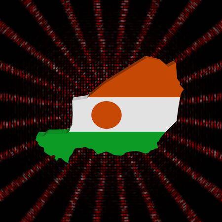 Niger map flag on red hex code burst illustration