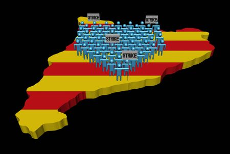 Crowd of people on Catalonia map with strike signs 3d illustration Stock Photo