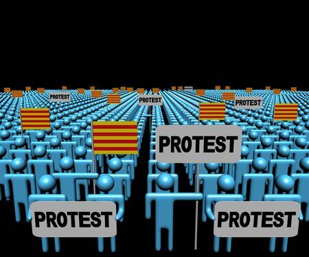 Crowd of people with Catalan flags and protest signs 3d illustration