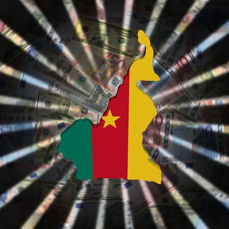 Cameroon map flag on currency burst illustration