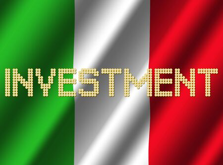 Investment text euro coins on rippled Italian flag illustration