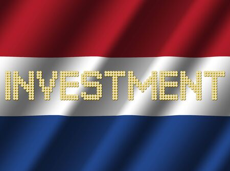 Investment text euro coins on rippled Dutch flag illustration