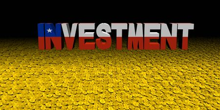 Investment text with Chilean flag on coins illustration Foto de archivo