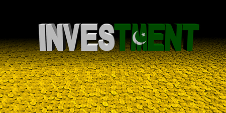 Investment text with Pakistani flag on coins illustration Stock Photo