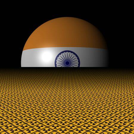 radioactive warning symbol: Indian flag sphere and radioactive warning signs illustration