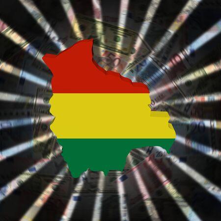Bolivia map flag on currency burst illustration Reklamní fotografie