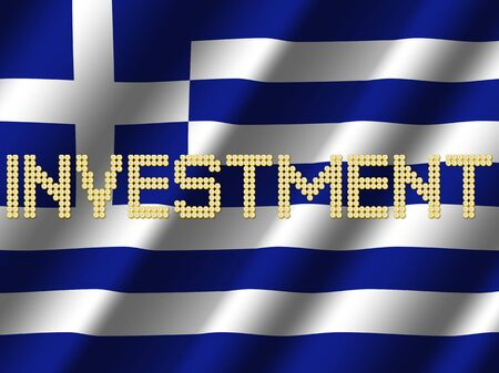 Investment text euro coins on rippled Greek flag illustration Stock Photo