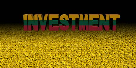 Investment text with Lithuanian flag on coins illustration Stock Photo