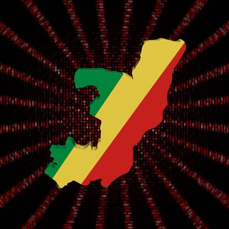 Kartenmarkierungsfahne der Republik Kongo auf roter Hexencodeexplosionsabbildung Standard-Bild - 89309930
