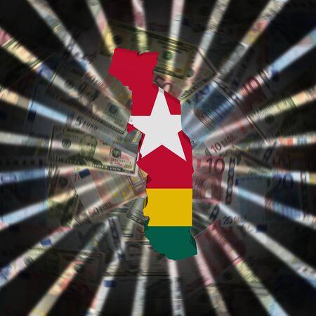 Togo map flag on currency burst illustration