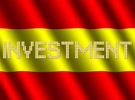 Investment text euro coins on rippled Spanish flag illustration