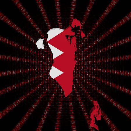 Bahrain map flag on red hex code burst illustration Stock Photo