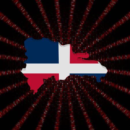 붉은 16 진수 코드 버스트 그림에 도미니카 공화국지도 플래그