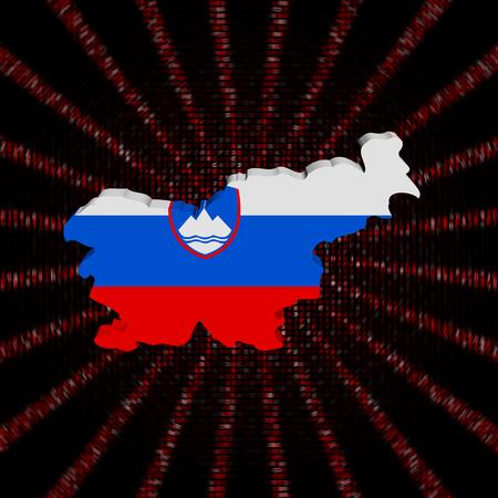 Slovenia map flag on red hex code burst illustration