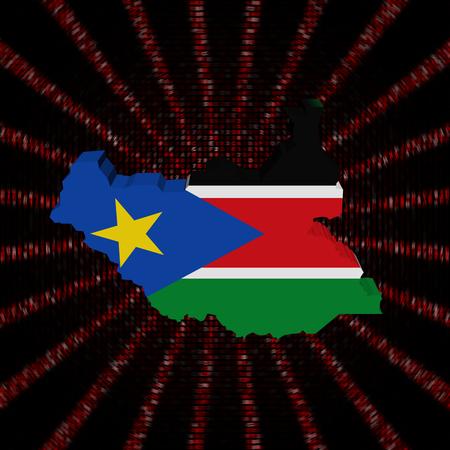 South Sudan map flag on red hex code burst illustration
