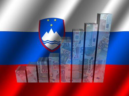 rippled 슬로베니아어 플래그 그림에 통화 그래프