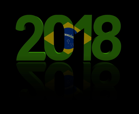 2018 text with Brazilian flag 3d illustration