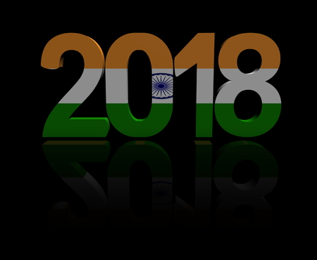 2018 text with Indian flag 3d illustration