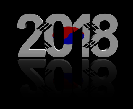 2018 text with South Korean flag 3d illustration