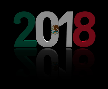 2018 text with Mexican flag 3d illustration