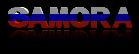 Samora text with Russian flag reflected 3d illustration