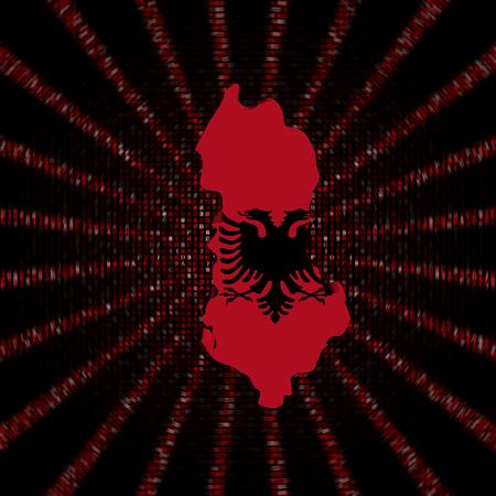 Albania map flag on red hex code burst illustration