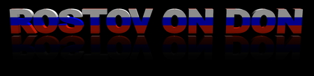 Rostov on Don text with Russian flag reflected 3d illustration